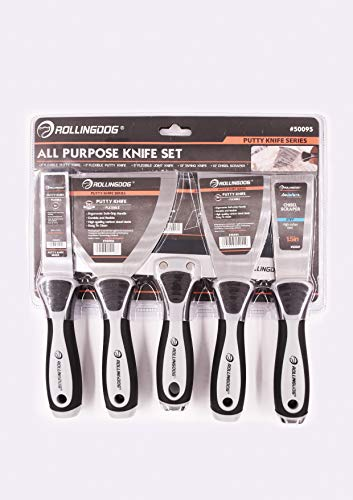 ROLLINGDOG Putty knife set with Chisel scraper and 10