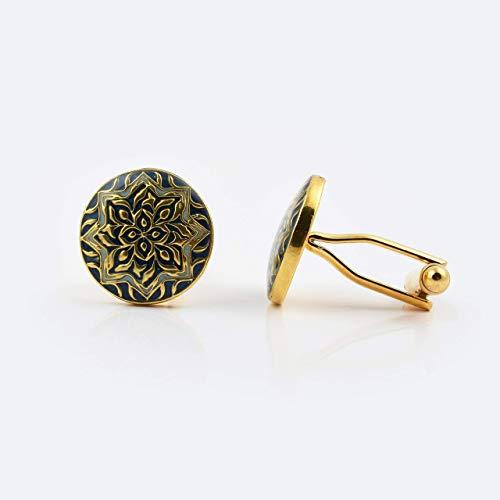 d Handcrafted Blue Aqua Enamel Cufflinks on Brass for Business or Wedding Shirt ()
