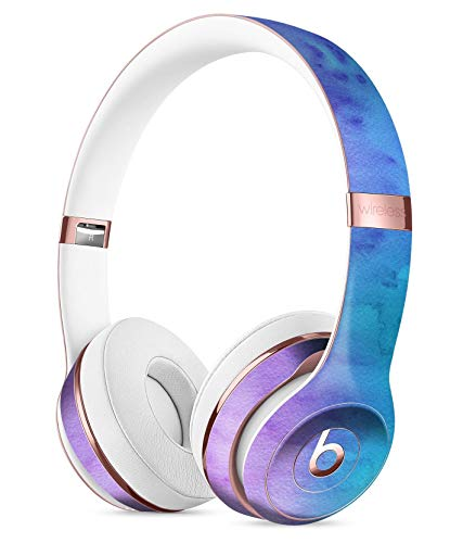 Mixed Pink Blue 3 Absorbed Watercolor Texture DesignSkinz Full-Body Skin Kit for The Beats by DRE Solo 3 Wireless Headphones/Ultra-Thin/Matte Finished/Protective Skin Wrap