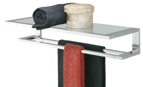Tiger Hotel Towel Rack Double With Glass Shelf Items Polished Stainless Steel