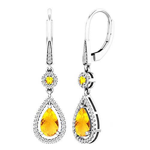 - Dazzlingrock Collection 18K 8X5 MM Each Round & Pear Citrine & Round Diamond Ladies Dangling Earrings, White Gold