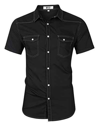 MrWonder Mens Casual Fit Button Down Shirts Short Sleeve Denim Shirts Western Shirt Black - Western Pearl Slim Snap Shirt