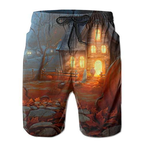 TARDIGA Scary Happy Halloween Men's Beach Shorts Swim Trunks Quick-Dry Board Short with Mesh -