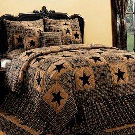 (IHF NEW Vintage Star Design Black King Quilt Bedding 100% Cotton 95-inch x 105-inch)