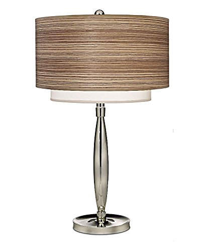 Stiffel TL-6671-N8563-PN One Light Table Lamp, Polished Nickel Finish with Zebrawood/Off White Camelot - Finish Zebrawood