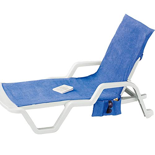 Terry Cloth Absorbent Beach Chair Cover with Hanging Pockets on Each Side for Extra ()
