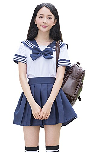 Anime School Girl Outfit (Japanese School Uniform Adult Women, Halloween Sailor Cosplay Costume Outfit White Navy (XS, Short Sleeve))