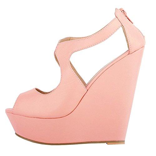 EKS - Zapatos de Tacón Mujer Pink-matte
