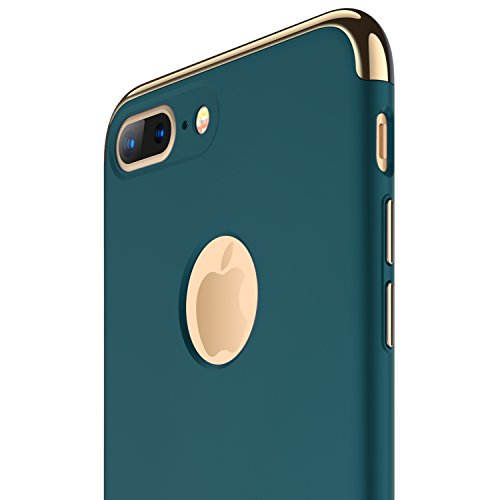 iPhone 7 Plus Case, RANVOO Thin Hard Slim Fit Stylish Cover with 3 Detachable Parts Case, Dark Green [Clip-ON]