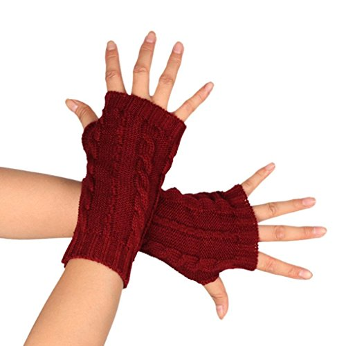 MalloomレディースファッションニットBraided腕手袋指なし親指穴Hand Warmerミトン