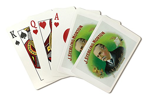 J. Sterling Morton Brand Cigar Inner Box Label - Grover Cleveland's Secretary of Agriculture (Playing Card Deck - 52 Card Poker Size with Jokers)