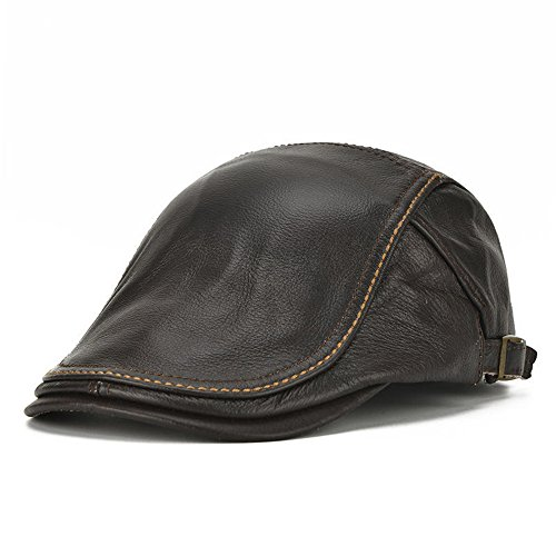 Mens Genuine Cowhide Leather Beret Hat Solid Casual Adjustable Warm Forward Caps (Black)