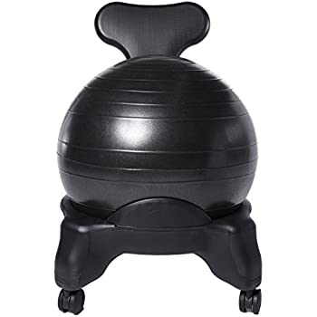 """Ivation Balance Exercise Ball Chair – Office-Size 60mm/2.5"""" Wheels – Starter Pump & BONUS Latex Resistance Band Included"""