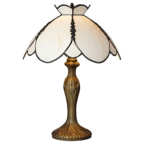 Downton Abbey Crowned Yorkshire Collection Ivory Stained Glass Table (Ivory Stained Glass Table Lamp)