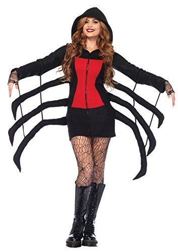 Halloween Store Charlotte (Leg Avenue Women's Cozy Black Widow Spider Halloween Costume, Red,)
