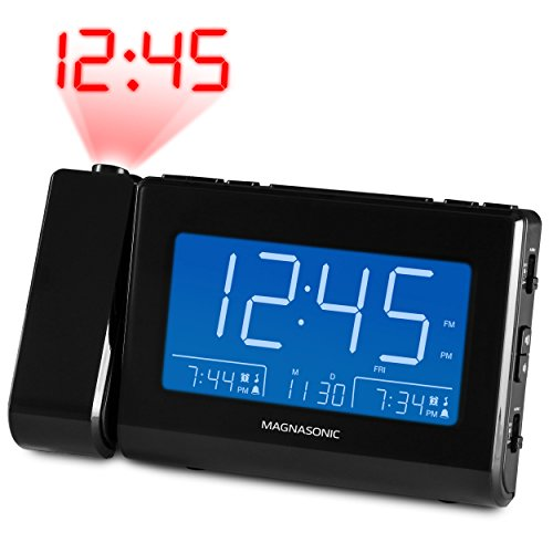 - Magnasonic Alarm Clock Radio with USB Charging for Smartphones & Tablets, Time Projection, Auto Dimming, Dual Gradual Wake Alarm, Battery Backup, Auto Time Set, Large 4.8