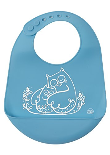 modern-twist Owls Waterproof Silicone Baby Bucket Bib with Adjustable Strap, Plastic Free, Wipe Clean and Dishwasher Safe, Blue