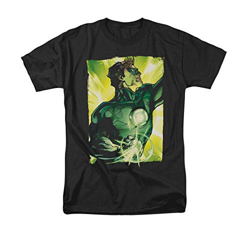 - Green Lantern DC Comics Green Sunburst Backdrop Ring Blast Adult T-Shirt