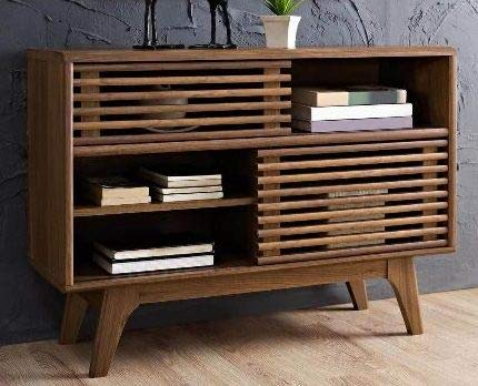 37 Inch Tv Stand - Walnut Wood Contemporary Linear Style with Open Shelves - Display Your TV in - Inch Flat Tvs On 32 Screen Sale