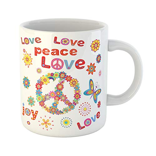 (Semtomn Funny Coffee Mug Colorful Hippy Flower Power Party 60S 70S Peace Seventies 11 Oz Ceramic Coffee Mugs Tea Cup Best Gift Or Souvenir)