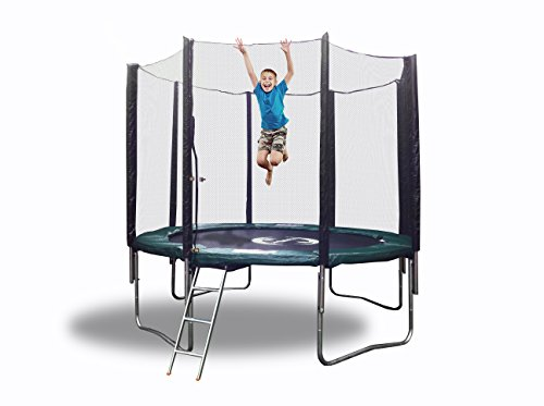 10 Ft Galactic Xtreme Round Exercise Trampoline - Safe & Strong 2.2 mm Steel Frame With Spring Pad, Safety Net Enclosure, Galvanized Steel Ladder & Non-Abrasive Permatron Jumping Mat - 550 lbs Wt Cap by HappyTrampoline