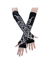 JISEN Women Punk Winter Knitted Stretchy Soft Arm Warmer Fingerless Gloves Phoenix