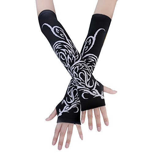 JISEN Black Punk Gothic Rock Knitted Soft Arm Warmer Fingerless Gloves Phoenix