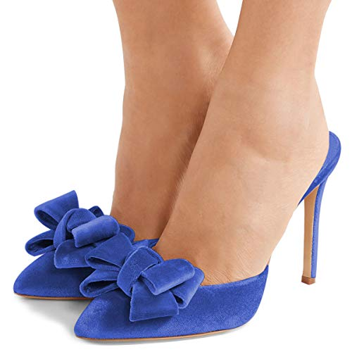 Scivolare 4 Sandali Eleganti Degli Stiletti Alti Fsj Aguzza Bowknot Scarpe Blu Punta Dimensioni Di Talloni Noi Mulo 15 Donne EZqwAnRnx7