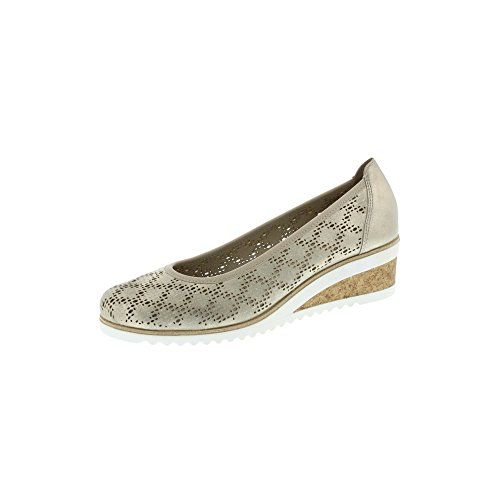 Remonte Gold/Beige Leather Wedge Espadrille Style Shoe Gold F8emPom