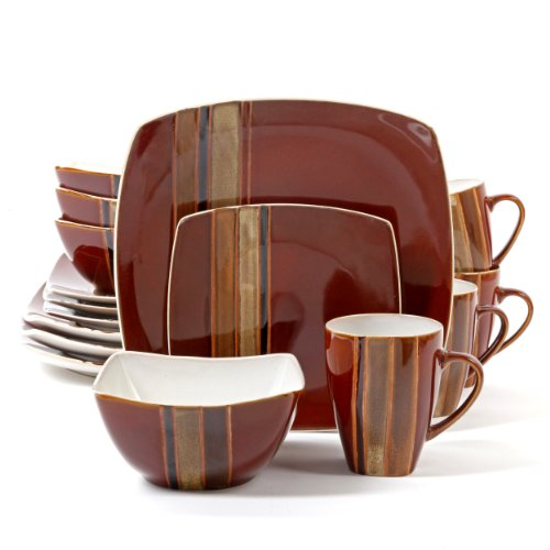 Gibson Elite Regent Classic 16-Piece Square Dinnerware Set, Red