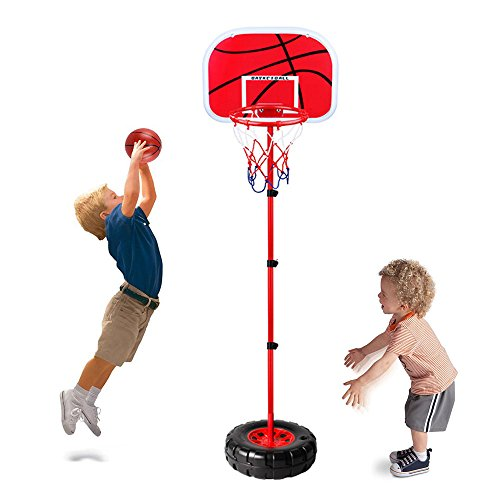 Height Adjustable Protable Basketball Set - Happytime Kids Basketball Adjust Hoop and Pump Basketball Set Indoor and Outdoor Fun Toys Christmas Gift for 3+ Years Old