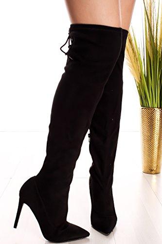 Jp Side Zipper Suede Material Fringe Accent Knee Alta Plataforma Botas Black-riseup-65s