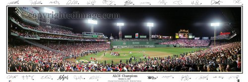 Boston Red Sox 2007 Printed - Boston Red Sox 2007 ALCS Champions Standard Framed Panoramic Photo with Team Signatures