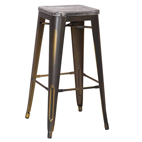 Joveco 30 Inches Counter Distressed Vintage Retro Counter Stool Arty Metal Bar Stool with Wooden Seat, Set of 2 Antique Bronze