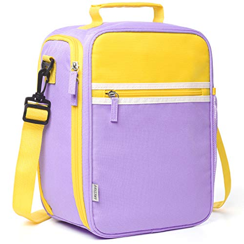 Lunch Bag for Women Kids Girls, Insulated Fabric Lunchbox with Firm Foil-BPA FREE, Reusable Lunch Tote Bag with Shoulder Strap ()