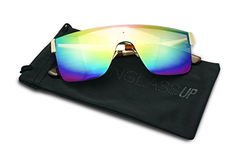 Futuristic Full Shield Rimless One Piece Mirrored Gradient Sunglasses (Gold / Rainbow Lens, - Lens One Sunglasses Piece