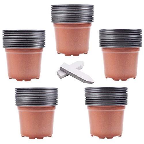 "Whonline 50 4"" Plastic Flower Seedlings Nursery Pots and 50 White Plant Labels"