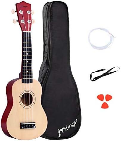 JMFinger 4-String Ukulele Natural (Soprano Beginner 21 inch)
