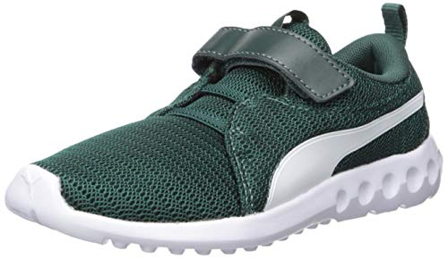 PUMA Unisex Carson 2 Velcro Sneaker, ponderosapine-White, 1 M US Little Kid