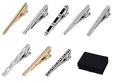 8 pc Tie Bar - Tie Clip Set, Silver Tone & Gold Tone, Black Gift Box