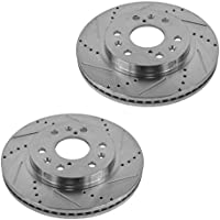 Performance Drilled Slotted Front Coated Brake Rotor Pair...
