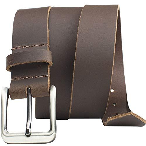 Roan Mountain Leather Belt - Nickel Smart - Brown Genuine Full Grain Leather Belt with Nickel Free Buckle - 34