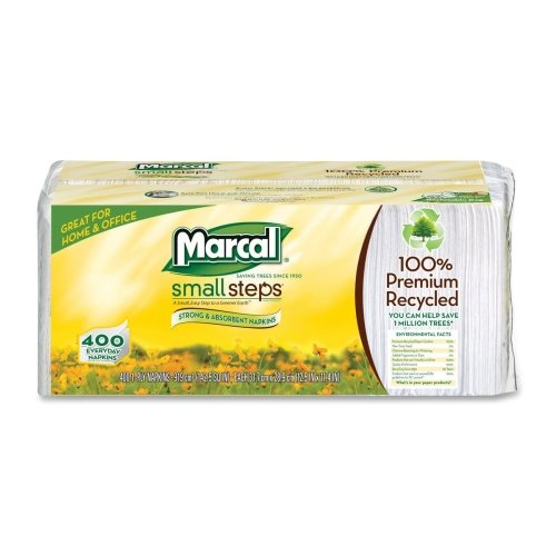 Wholesale CASE of 20 - Marcal Small Steps Recycled Luncheon Napkins-Luncheon Napkin, Single-Ply, 12-1/2