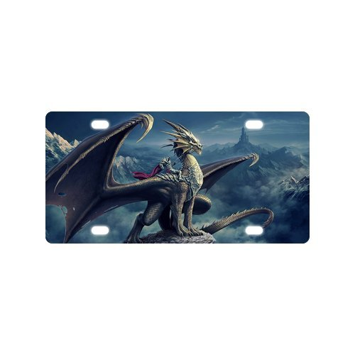 "Cool Dragon On The Mountain Strong And Durable Aluminum Car License Plate 12"" X 6"""
