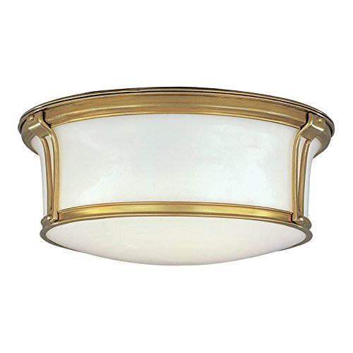 Hudson Valley Lighting Newport Flush 3-Light Flush Mount - Aged Brass Finish with Opal Glossy Glass Shade