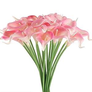GTIDEA 20Pcs Fake PU Calla Lily Artificial Flowers Bride Wedding Bouquet for Table Centerpieces Arrangements Home DIY Garden Office Decor (Pink) 25