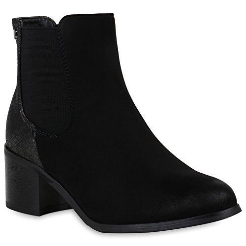 Stiefelparadies Damen Chelsea Boots Plateau Stiefeletten Profilsohle Schuhe Velours Metallic Booties Knöchelhohe Stiefel Blockabsatz Plateauschuhe Flandell Schwarz Metallic