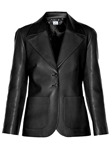 (VearFit Simple Coat Black Faux Leather Blazer Smooth Fashion Designer Collection for Women)