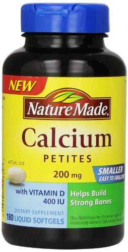 Nature Made calcium Petites 200 mg avec vitamine D gélules, 180 comte