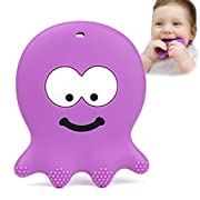 Baby Teething Toys - Adorable Violet Octopus - Best Sensory Learning Teether For Girl Or Boy Infant Newborn 3/6/12 Months/1 Year Old - BPA Free Silicone - Cool Baby Shower And Easter Gifts